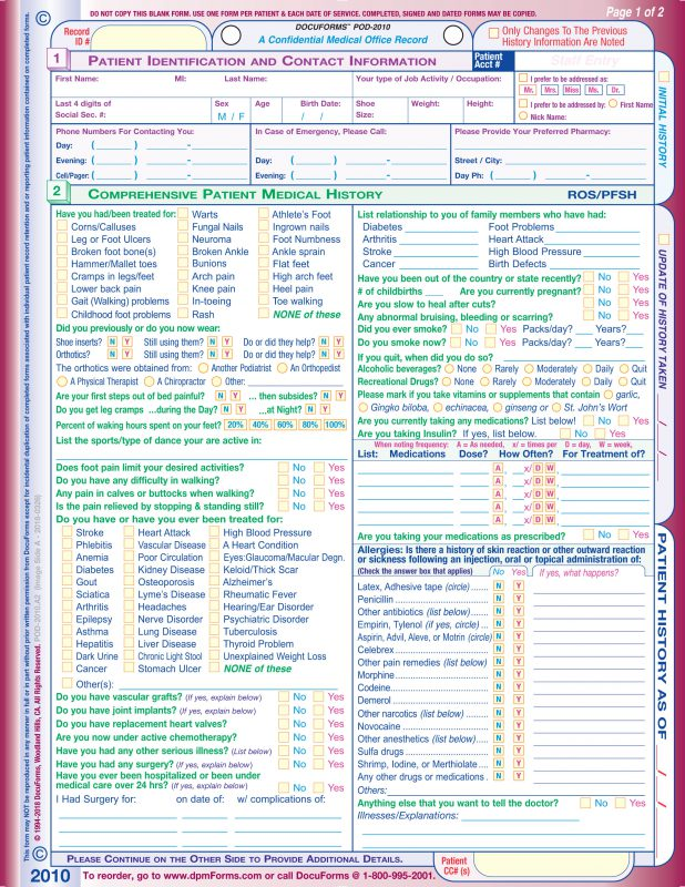 View if Front Page of the Podaitric Patient History Form