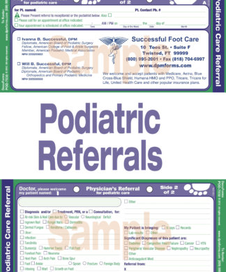 Front and Back of sample Podiatric Referral Sheet sold as pads of 20 sheets in POD-7030